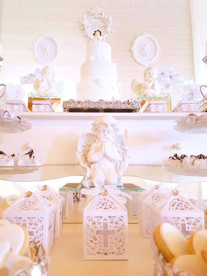 Ornate white favor boxes from a White Angel Baptism Party on Kara's Party Ideas | KarasPartyIdeas.com (18)