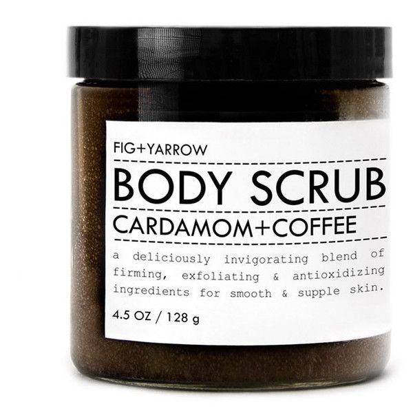 Cardamon Coffee Body Scrub Trial/Travel Size design by Fig and Yarrow ($24) ❤ liked on Polyvore featuring beauty products, bath & body products and body cleansers