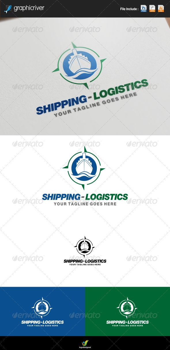Shipping and Logistics Logo  #shield #ship #shipping • Available here → http://graphicriver.net/item/shipping-and-logistics-logo/7775149?s_rank=278&ref=pxcr