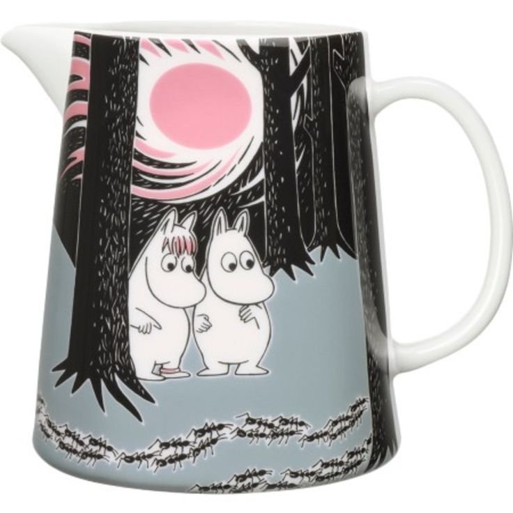 Moomin Pitcher- Adventure Move : The Moomins are the troll-like characters aboutwhich Tove Jansson's classic Finnish stories are based. Leading a carefree existence in Moomin Valley, Jansson's charming community of Trolls live life to the full with their great love of adventure, nature and friendship. Jansson created a beautiful and positive world, loved by generations of adults and children alike.