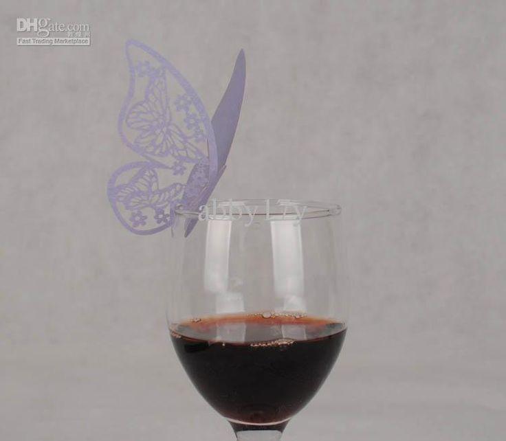 lilac wedding butterfly wine glass decoration 100pcslot