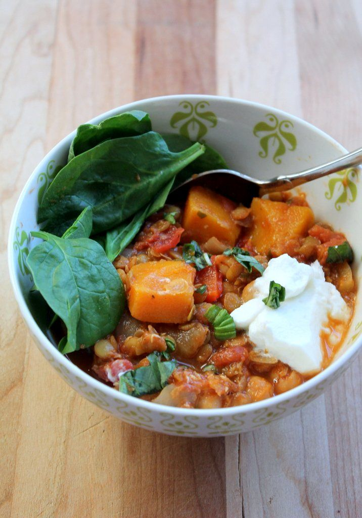 Butternut Squash, Chickpea & Lentil Moroccan Stew - healthy, vegan and gluten free