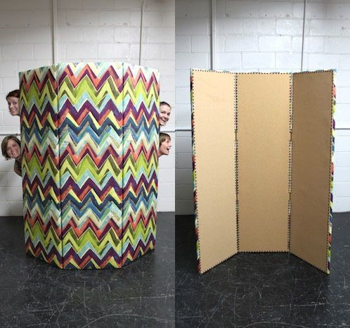DIY tri-fold screen from plywood with fabric on one side and cork board on the the other, from Design Sponge.