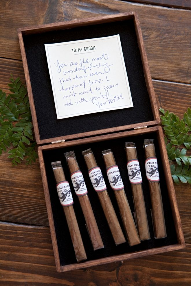DIY Groom's Cigar Box Milestone Gift, one cigar for every special occasion! Free printable files!