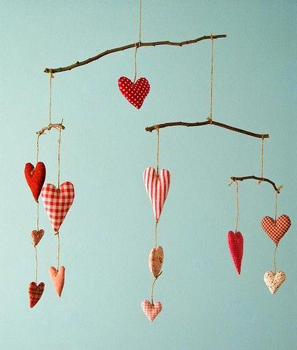 Valentine: Idea, Crafty, Fabrics Heart, Valentines Day, Diy Mobiles, Valentinesday, Baby, Heart Mobiles, Handmade Mobiles