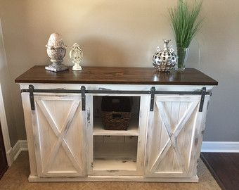 Rustic Sliding Barn Door Console Buffet By