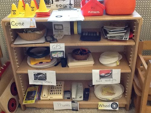 Car Repair Shop Props-put chairs together to make cars-props include plastic tools, real maps, paper GPSs, phones,real keys, steering wheels, paper plate tires (tape to put on tires),Car Repair List form on clipboards, cones to put around cars being repaired :-)