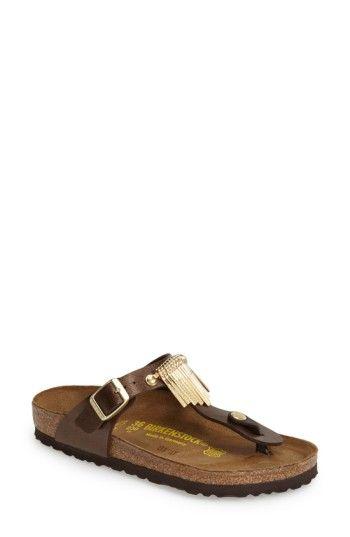 BIRKENSTOCK WOMEN'S BIRKENSTOCK 'GIZEH' FRINGE THONG SANDAL. #birkenstock #shoes #