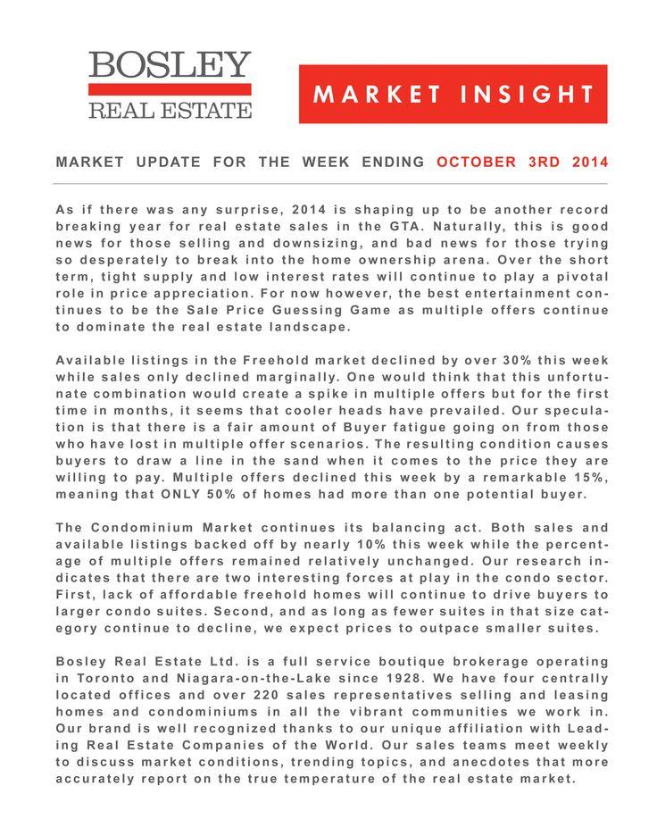 Shazam. It's the weekly Bosley Market Insight for October 3 2014