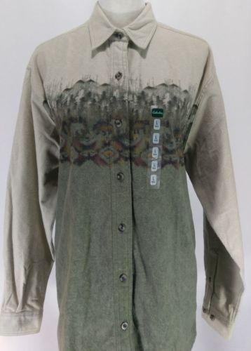 Cabela-039-s-Chamois-Shirt-Long-Sleeve-Outdoor-Woods-Bears-Womens-Size-Large