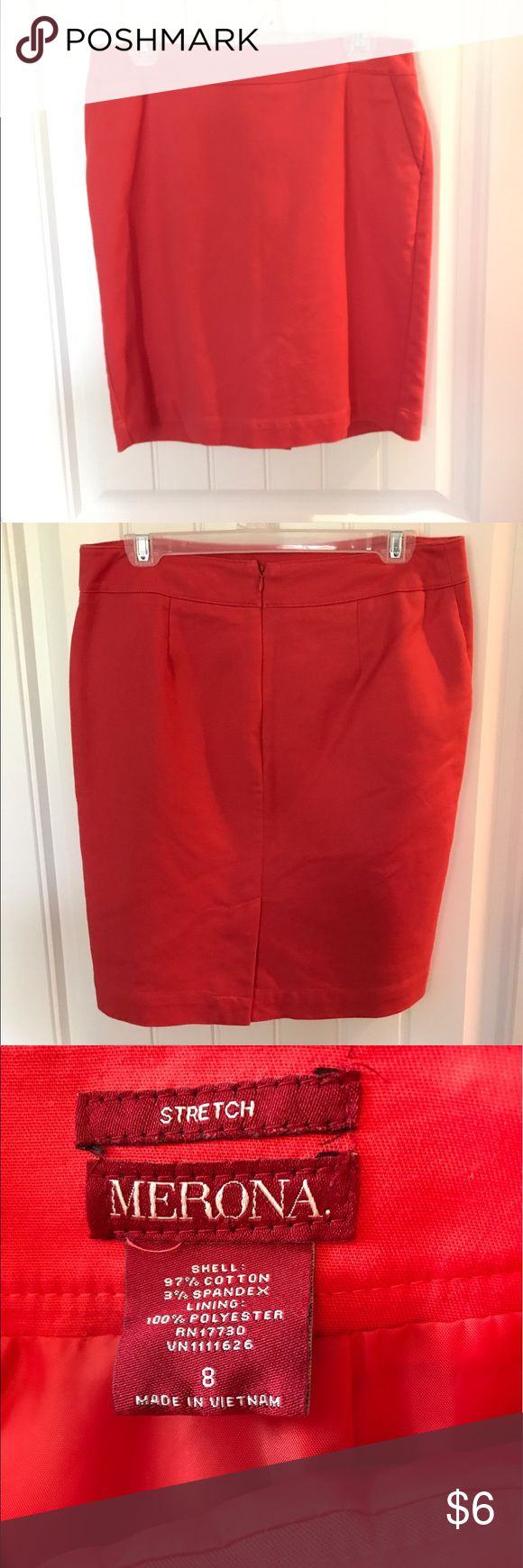 Merona coral pencil skirt Stretch fabric! Merona Skirts Pencil