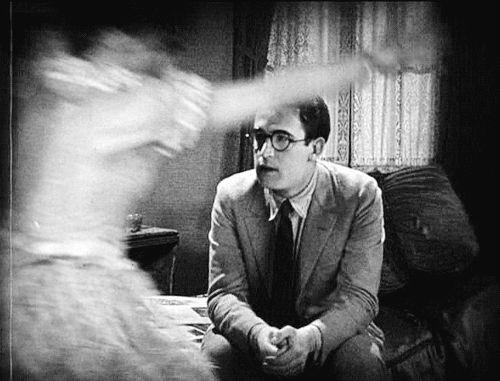 "littlehorrorshop: "" Flapper Judy King leaves her mark on Harold Lloyd, Girl Shy, 1924 """