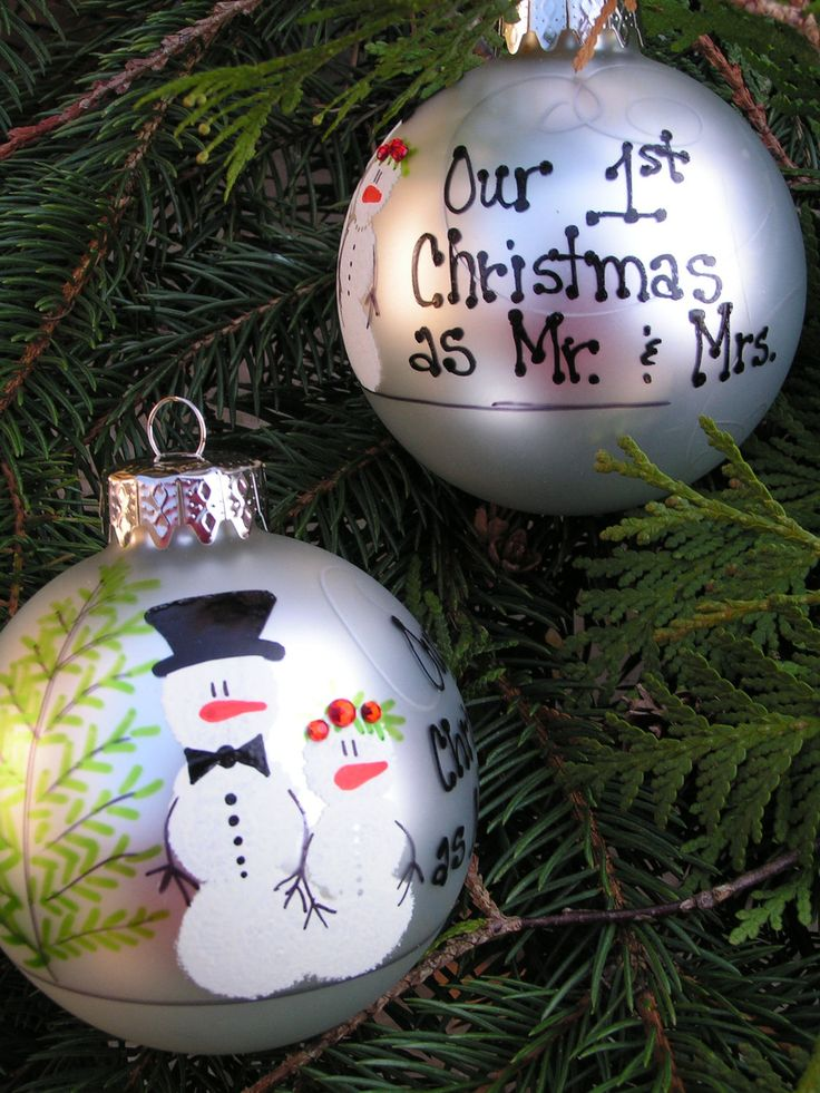 OUR FIRST CHRISTMAS as Mr. & Mrs. Hand painted ornament. $17.95, via Etsy.