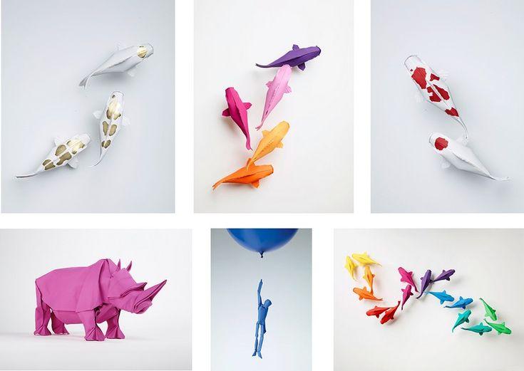 pliage de papier origami complexe en forme de carpe koï et rhinocéros