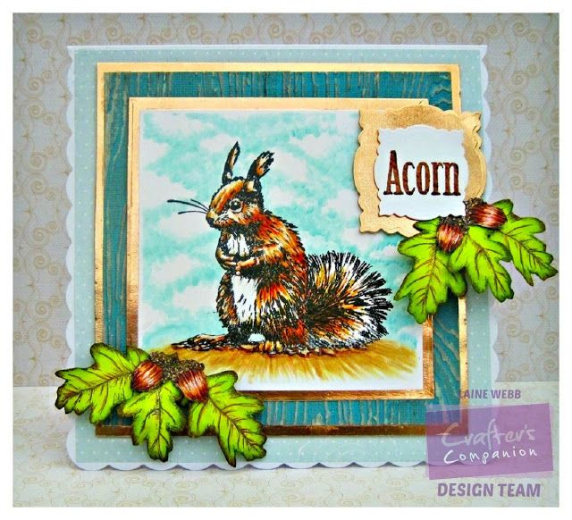 Dream Laine: From little acorns....  Sheena Douglass Perfect Partners A6 Rubber Stamp Set - Little Acorn Stamp. Spectrum Noir markers/pencils: EB1, EB2, EB3, TN2, TN3, TN4, BT1, CT1, CT2, CT3, + 91, 98, 102, 120. Crafter's Companion Textures 8x8 Embossing Folders - Wood Grain -. Core'dinations Tim Holtz and Ranger Distress Collection.- Core'dinations 6 x 6 Cardstock - Tim Holtz Kraft Core Metallic Collection.- Die'sire Essentials - Decorative Frame 1 Die.- #crafterscompanion #spectrumnoir