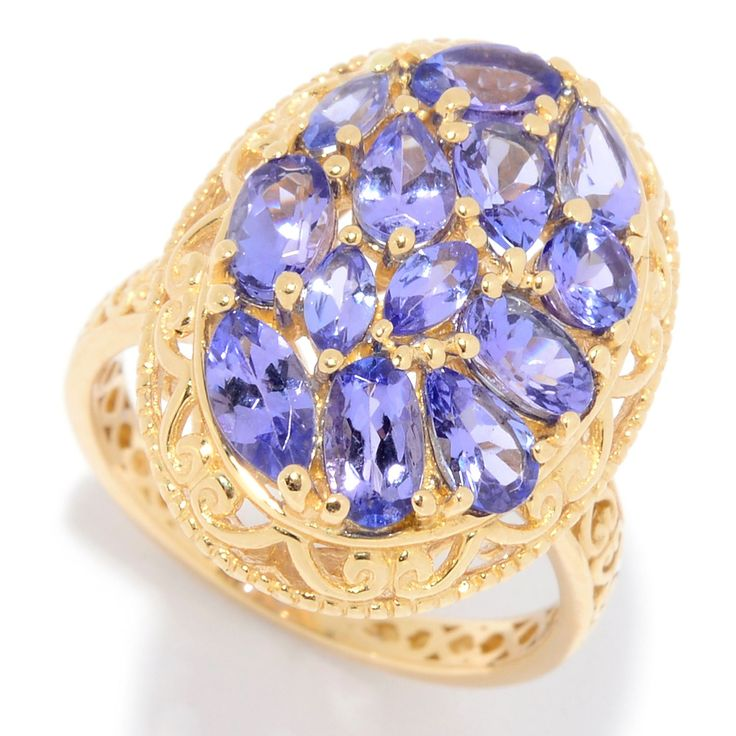 161-035 - Gems en Vogue 14K Gold 2.21ctw Multi Shape Tanzanite Cluster Ring