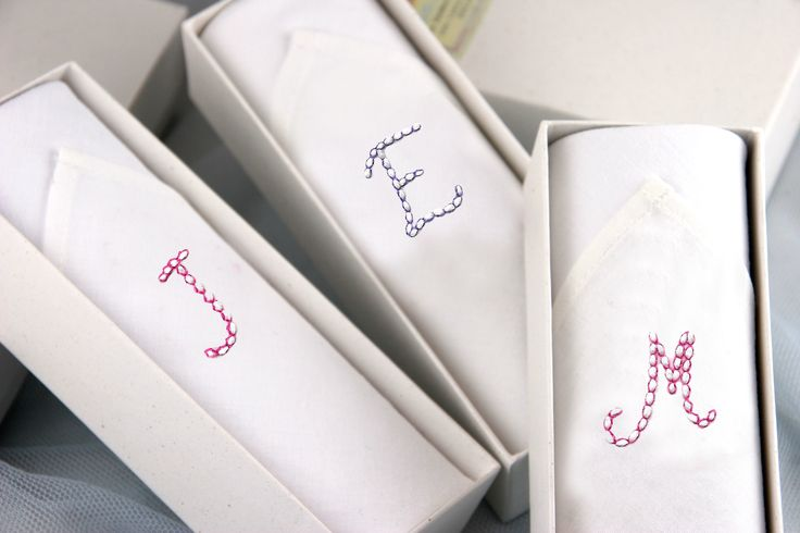 Our hand embroidered cotton handkerchiefs are decorated with initials. These are ladies hankies made by lovely ladies from Madagascar. Personal gift for a classic lady!