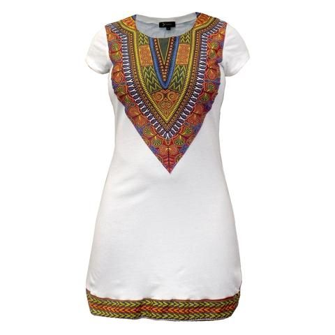 NEW Women's Fitted Dashiki African Print T-Shirt Dress (White)