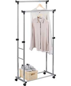 Adjustable Heavy Duty Clothes Rail - Black and Chrome. £30.99 Size H92, extending to 153.5, W80cm. Weight capacity 45kg.