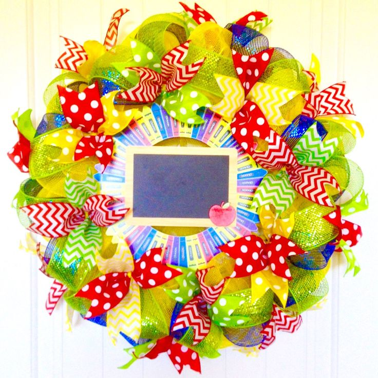 Classroom Wreath, Teacher Wreath, School Wreath, Chalkboard Wreath, Crayon Wreath, Teacher Crayon Wreath, Colorful Wreath, Bright Wreath by ADOORnedAccents on Etsy https://www.etsy.com/listing/471275124/classroom-wreath-teacher-wreath-school