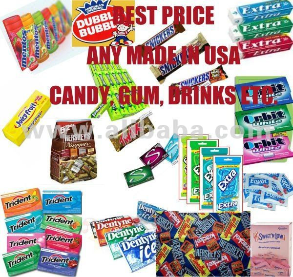 Hershey Cadbury Stride Trident Extra Orbit Juicy Fruit Ice Breakers Ice Cubes Mentos Eclipse Double Bubble Chewing gum Candy