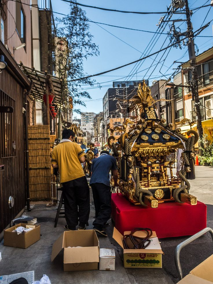 Preparations for the Sanja Matsuri are of course all over Asakusa. Here, the  Koenchi omikoshi getting some fine tunings before its great day. #Asakusa, #omikoshi, #matsuri, #Sanja, #Koenchi May 12, 2016 © Grigoris A. Miliaresis
