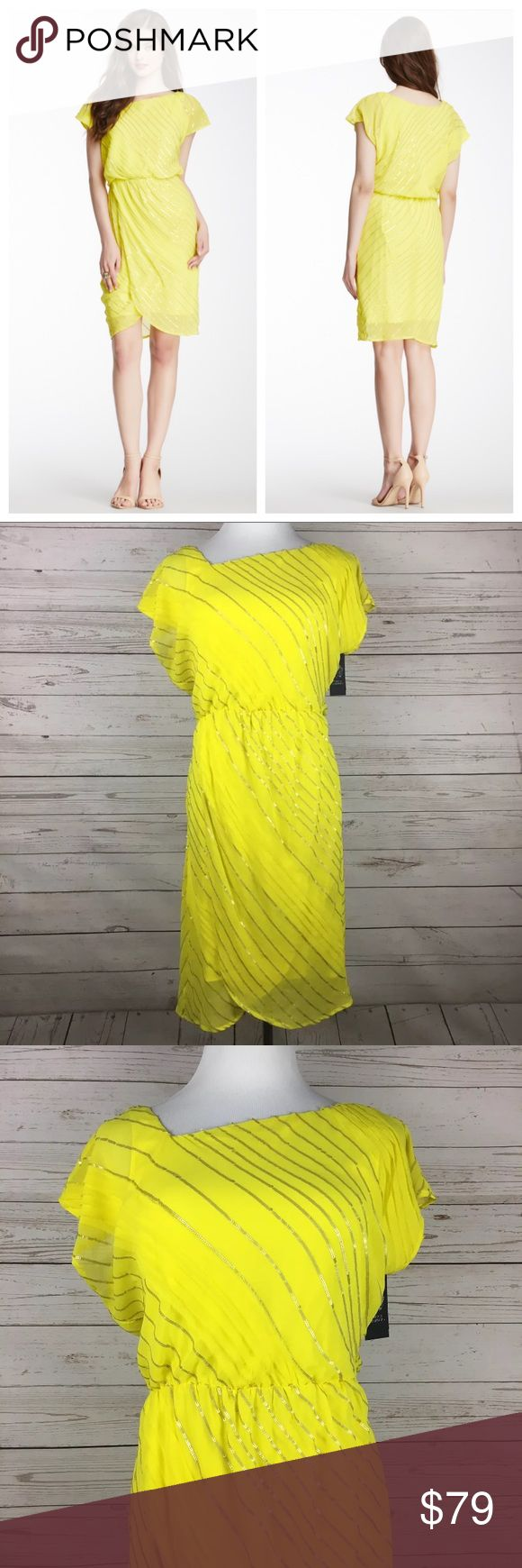 VINCE CAMUTO Yellow Sequined Dress NWT •Size:  4  •Color: Yellow  •Material:  100% Polyester  •Lining:  96% Polyester, 4% Elastane  •Closure:  Pull On  •Details:  Tulip Hem  •Care:  Dry Clean  •Condition:  New With Tags  All measurements are in inches and taken with garment laying flat.  Not doubled.   •Bust: 17  •Waist: 12 1/2  •Hips: 18  •Shoulder to Hem: 37   Item:  7430617499 Vince Camuto Dresses