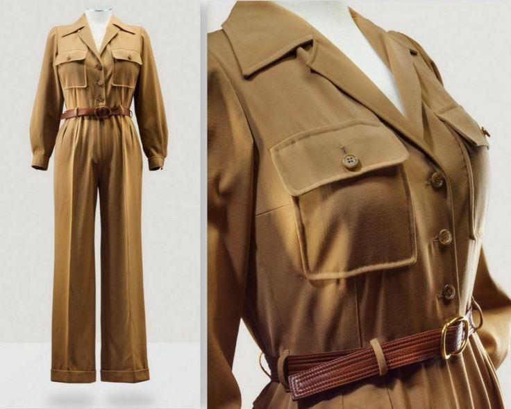 1975 Yves Saint Laurent Haute Couture, printemps-été ,A TAN GABARDINE JUMPSUIT WITH LEATHER BELT