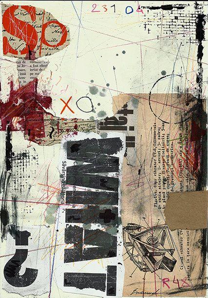 Impresión de la lona de arte abstracto dibujo Collage por rcolo
