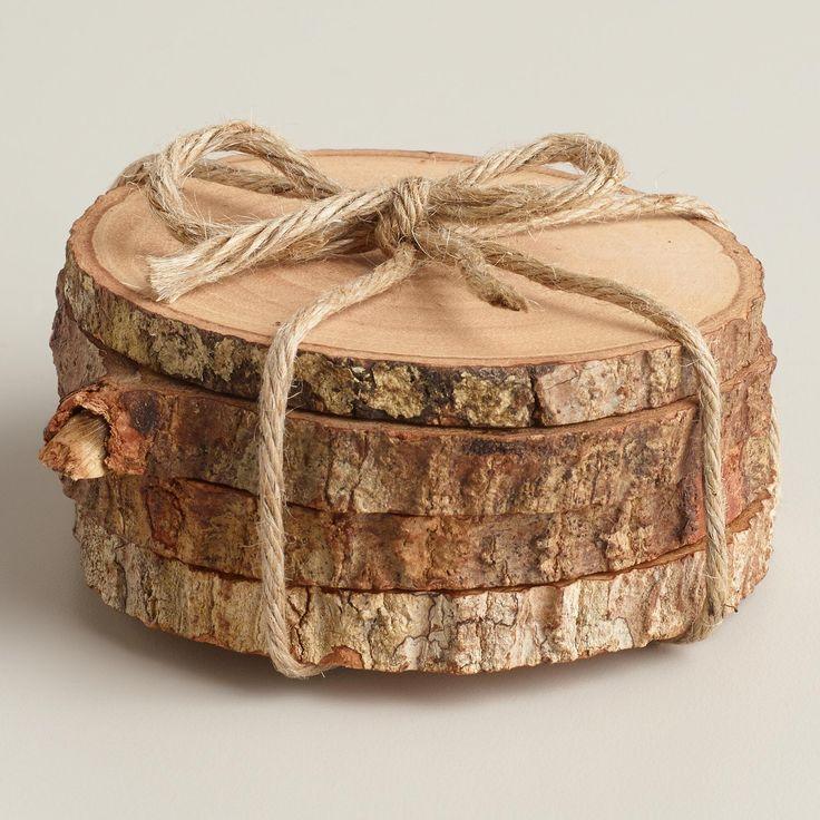Wood Bark Coasters, Set of 4   World Market