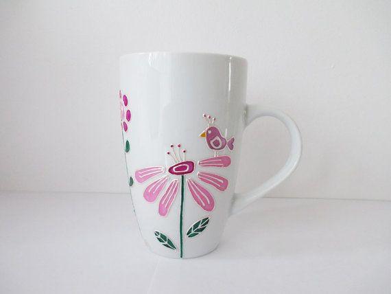 Hand Painted Decorative Porcelain Coffee Tea Mug por YunikDesign, $23.00