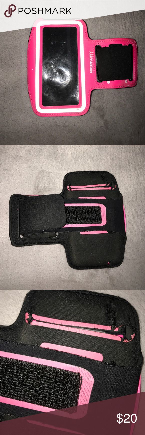 iPhone 5 armband Workout armband. Fits iPhone 5. Black and dark pink. Adjustable. Slot for key. Great usable condition. Some stretching around phone insert slot but phone doesn't fall out. Reflective strip around screen. merkury innovations Accessories Phone Cases