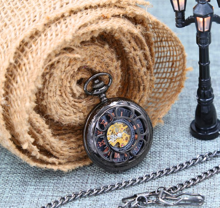 Set of 4 Personalized Groomsmen Gift Metallic Black Pocket Watch Mechanical watch with Vest chain by PocketWatchEngraved on Etsy