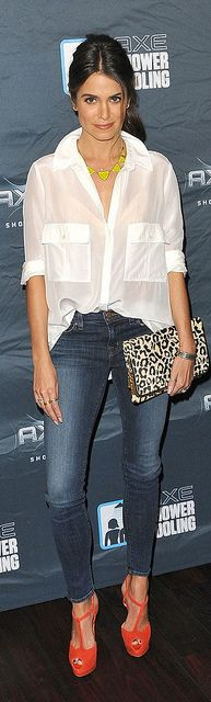 Nikki Reed White Shirt Celebrity Style Womens Fashion by How Celebs Wear It, via Flickr