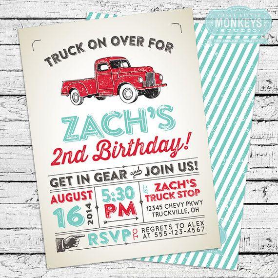 Vintage Truck Invitation by 3LittleMonkeysStudio on Etsy