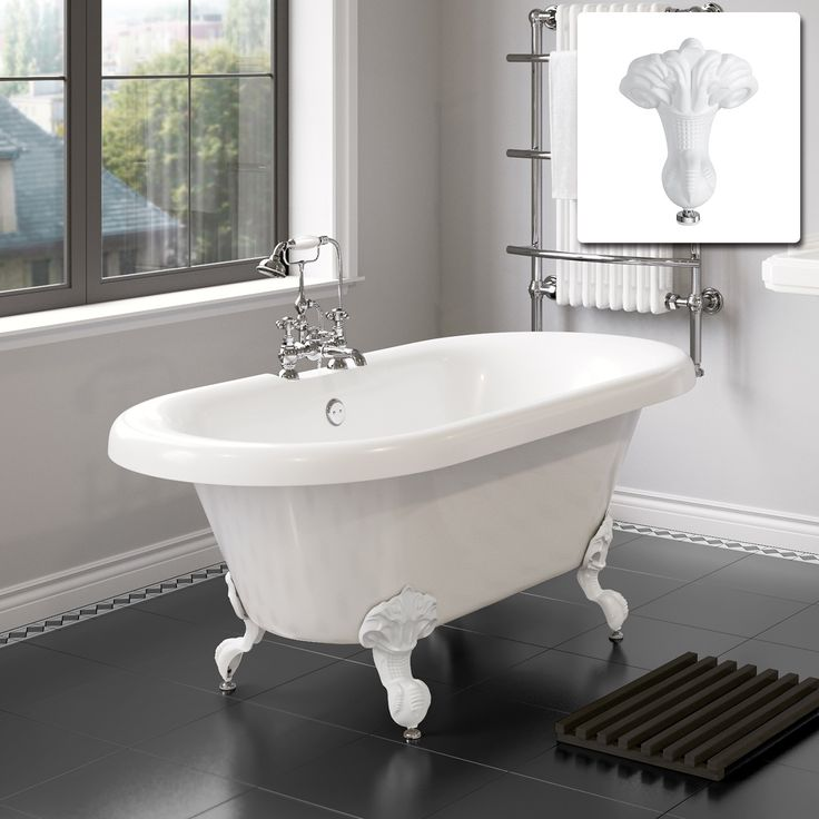 1800mm Victoria Traditional Roll Top Bath - White Ball Feet - Large