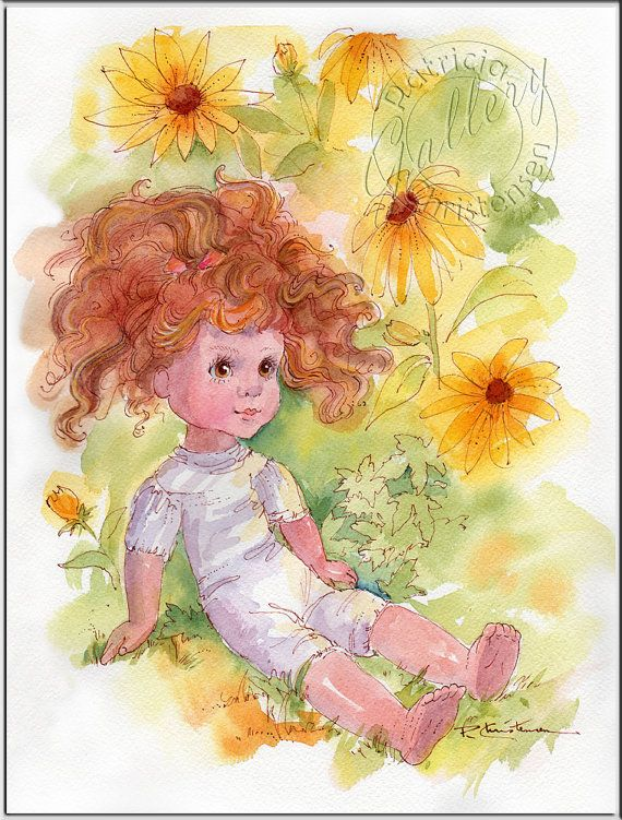 Doll and Gold Black-eyed Susans Flower Garden - Watercolor Painting