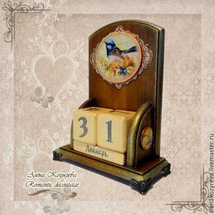"""Купить Вечный календарь """"Птица удачи"""" - коричневый, вечный календарь декупаж, подарок на любой случай"""