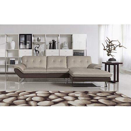 Bella Contemporary Fabric Upholstered 2-Pc Right Facing Sectional Sofa, Cappuccino, Brown