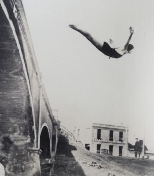 Swan dive: the bridge near the Fyansford Hotel proved popular when the ford flooded.