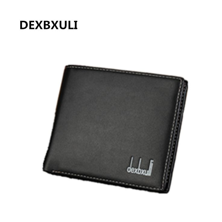 Dexbxuli new men's short leather wallet business style wallet card package thin and pure color fashion wallet nice gift for men