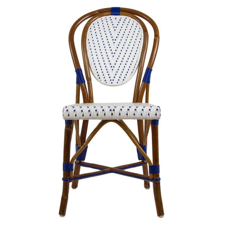 White & Blue Mediterranean Bistro Chair (V)