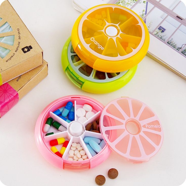 New Portable fruit style 7 grid seal rotation Storage Cases Jewelry candy box Storage Box Vitamin Medicine Pill Box Container