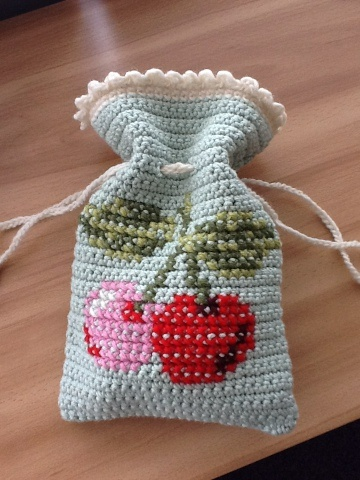 Little cherry bag made by Hookin With Laalaa.