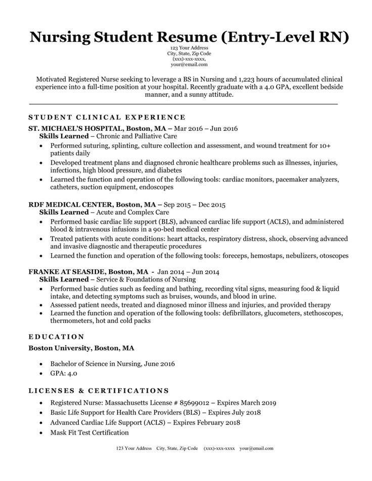 entrylevel nursing student resume sample  tips
