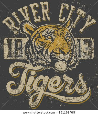"""Vector three color retro """"Tigers"""" athletic design complete with tiger head mascot illustration, vintage athletic fonts (designed by myself) ..."""