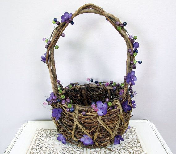 Rustic and romantic flower girl basket