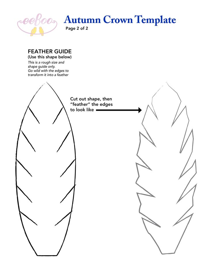Felt feather template for our fantastic eeboo fall crown diy template eeboo craft project for Feather outline template