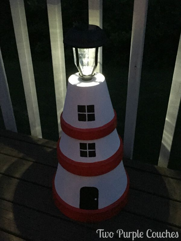 Diy Clay Pot Lighthouses Clay Pot Lighthouse Garden Art