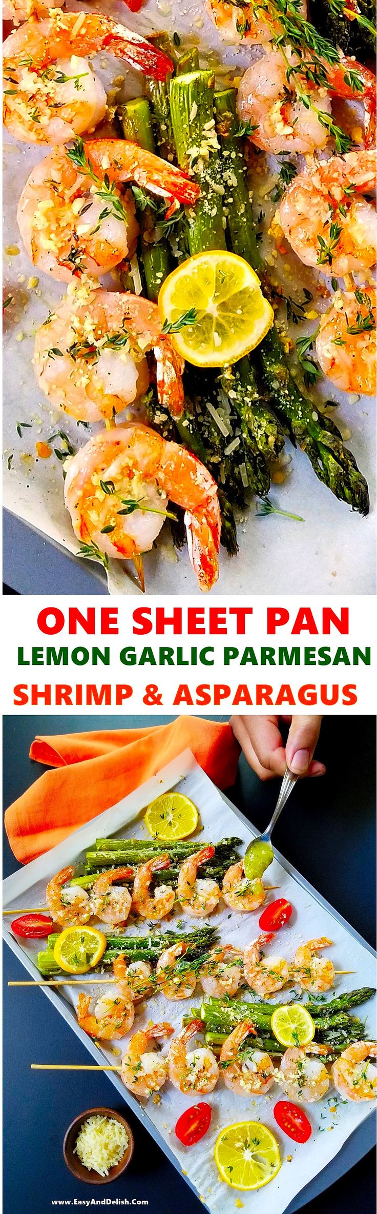 One sheet pan lemon garlic Parmesan shrimp and asparagus that can be prepared in less than 30 minutes. It is a no hassle, mess-free, elegant meal!